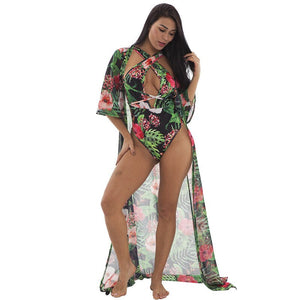 2020 Women Summer Beach Dress Floral Print Chiffon Dress Sundresses 2 Piece Sets Beachwear Clothing Sexy Two Piece Maxi Dress