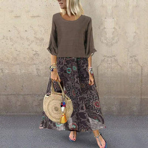 2PCS Women Tops T-shirt+Chiffon Floral Casual Baggy Long Maxi Dress Summer Vintage Print Boho Fashion Clothes Set