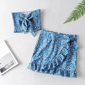 2PCs Set Women Summer Vintage Boho Beach Floral Bandage Sleeveless Tube Tops Two-Piece Sets Top Ruffles Skirt Outfits Summer