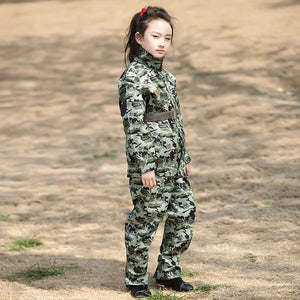 2Pcs Teenager Boys Special Forces Camouflage Military Uniform Training Tactical Costumes Desert Combat Army Suit