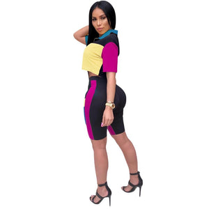 3 Color Summer Tracksuit Color Patchwork Fashion Sexy Overalls Women's Set Two Pieces Suit Casual Nightclub Casual Tracksuit 215