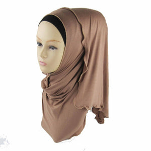 32 Colors Muslim Hijab Scarf Soft Cotton Long Scarf With Zipper Border Headscarf Isamic Scarf
