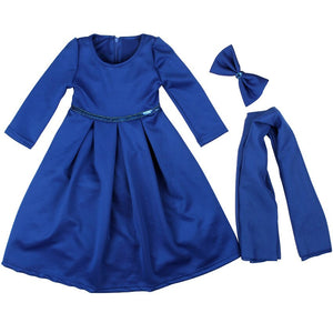 3Pcs Muslim Traditional Costumes Kids Hijab Dress Solid Islamic Ramadan Wear Hijab Scarf Long Abaya Arabic Outwear