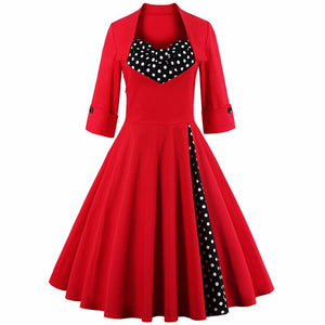 3Xl 4Xl 5Xl Plus Size Women Clothing Pin Up Vestidos Spring Autumn Retro Casual Party Robe Rockabilly 50S 60S Vintage Dresses