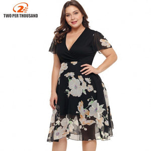 3Xl 4Xl Large Size Summer Dress Big Size Office Dress Black Dresses Plus Size Women Clothing Short Sleeve Casual Vestidos