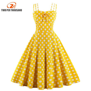 3Xl 4Xl Plus Size Polka Dots Print Dress Women Spaghetti Strap Summer Party Dress Vintage High Waist Dresses