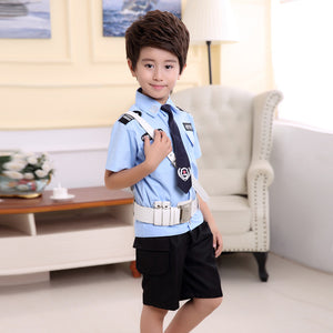 4Pcs Children Boys Clothing Set Halloween Fancy Cosplay Costumes Traffic Policeman Policewomen Uniform Skirt With Cap