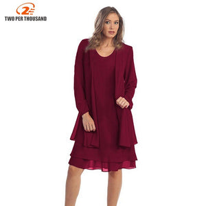 4Xl 5Xl Plus Size 2 Piece Set Women Clothing Long Sleeve Loose White Party Chiffon Midi Dress Trending Products Vestidos