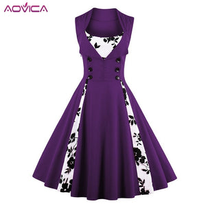 4Xl 5Xl Plus Size Women Robe Pin Up Dress Retro Vintage 1950S 60S Rockabilly Swing Summer Dresses Tunic Vestidos