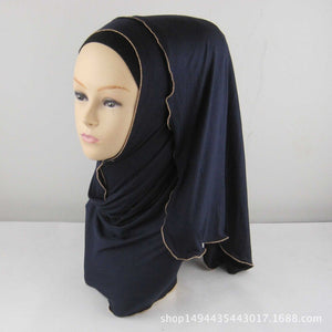 5 Colors Muslim Hijab Scarf Soft Cotton Long Scarf With Zipper Border Headscarf Isamic Scarf