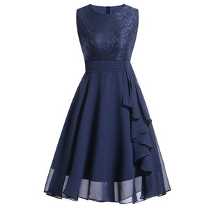 50S Vintage Dress Women ALine Lace Bow KneeLength Chiffon Patchwork Sleeveless Vintage Dress Prom Graduation