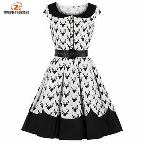 5Xl 4Xl Big Size Women Midi Dress Christmas Summer Vintage Deer Print Pleated Swing Retro Dresses Plus Size 3Xl