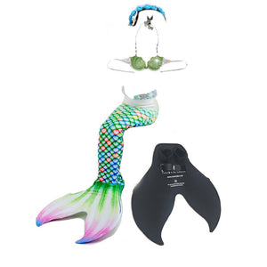 5PcsSet Children Mermaid Tails Swimming Mermaid Tail With Monofin Zeemeerminstaart Mermaid Tail Flippers Kids Mermaid Swimsuit