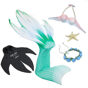 5PcsSet Mermaid Tail With Flippers Bikini Swimmable Women Cosplay Costume Mermaid Tails Swimming Adults Swimsuit