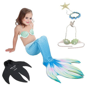 5PcsSet Mermaid Tail With Monofin Bikini Swimmable Kids Adults Women Cosplay Costume Swimming Mermaid Tail Swimsuit
