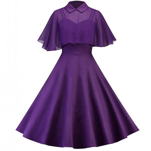 6 Color 2 Piece Sets Retro Hepburn Doll Collar Spaghetti Strap Cloak Thin Waist Big Hem Perspective Chiffon Vintage Dresses