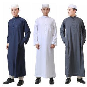7Color Islamic Clothing Men Jubba Thobe Muslim Abaya Dubai Kaftan Prayer Robes Arab Eid Costume Man Muslim Clothes Thobe