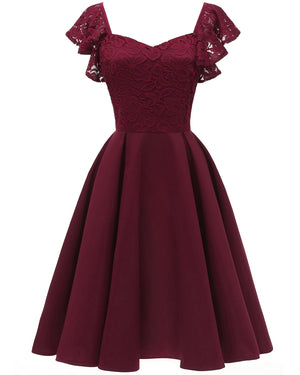 ALine Vintage Vestidos Lace Dress Women Short Prom Office Slim Party Dresses Summer Casual Beach Dress