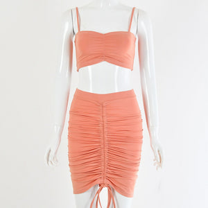Adjustable Length Two Piece Set Crop Top Skirt Set 2 Piece Set Women Sexy Neon Pleat Ruched Bodycon Two Piece Outfits