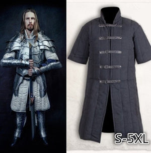 Adult Men Medieval Larp Viking Cosplay Costume Leopold Gambeson Canvas Suede Turtleneck Jacket Battle Outfit Winter Padded Coat