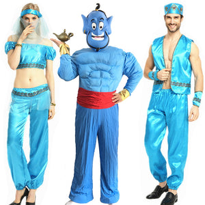 Adult Muscle Costume Men Cosplay Thousand One Nights Oriental Aladdin Jasmine Princess Arabian Prince Cosplay Costume