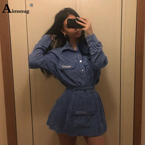 Long Sleeve 2019 Women Sets Two-piece Suit Feminino Turn Down Collar Pocket Buttoned Shirt Outfits Casual Skirts Sets