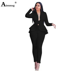 Women Blazer Set Sexy V Neck Long Sleeve Ruffles Blazer Jacket Coat Pencil Pants 2020 Winter Office Lady 2Pcs Sets Femme