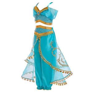 Aladdin Lamp Princess Jasmine Costumes Cosplay Children Halloween Party Belly Dance Dress Indian Princess Costume