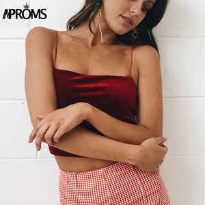 90S Basic Velvet Cropped Camis Fashion Women Streetwear Elastic Straps Crop Tank Top Short Bustier TShirts Tees