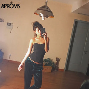 Black Strapless Slim Fit Tank Tops Party Off Shoulder Crop Top Christmas Cool Streetwear Back Zipper Basic