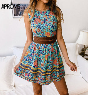 Bohemian Floral Print Women Cotton Dress Women Sundresses Casual Summer Sleeveless ALine Mini Dress Beach Tank Dresses