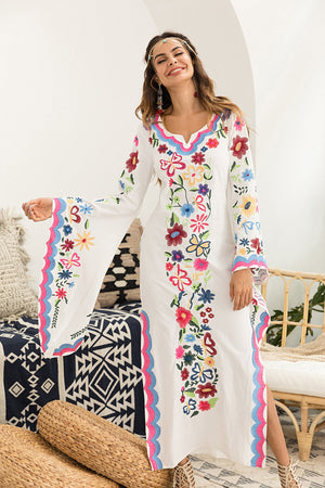 Bohemian Long Flared Sleeve Multi Flower Embroidery Maxi Dress Women Boho Side Split Festival Long Dresses Vestidos