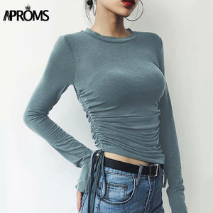 Candy Color Long Sleeve Ruched T Shirt Korean Fashion Slim Fit Tshirt Women Streetwear Cotton Basic Tops Gray Tees