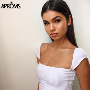 Square Neck Knitted Ribbed Camis Low Back Crop Top White Basic Tank Tops Streetwear Cropped Top Tee