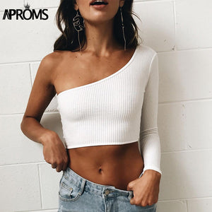 Cold Shoulder Camisole Tank Top Femal Knitted Crop Top Women Tops Streetwear Elastic Short Knitting Cropped Cami 90S Tees