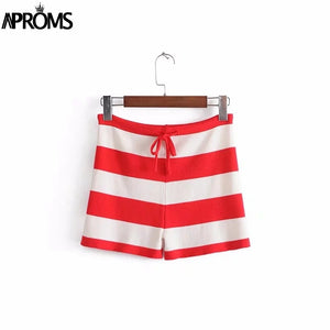 Color Blocked Knitting High Waist Shorts Women Summer Streetwear Beach Drawstring Shorts Cools Red Striped Bottom