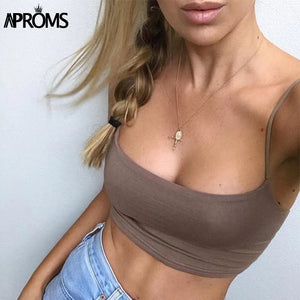 Cool Basic Camis Streetwear Fashion Candy Colors Cropped Bustier Tees Women Tank Tops Elastic Crop Top