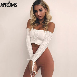 Coolest Off Shoulder Crop Tops Casual Ruched Pleated White TShirt Women Short Sleeve Cropped Tshirt Clothing