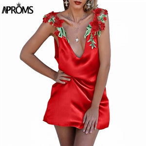 Deep V Neck Flower Embroidery Red Dress High Waist Casual ALine Dresses Women Beach Sundresses Vestidos
