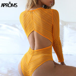 Deep V Neck Lace Mesh Crochet Bodysuit Women Slim Fit Romper Jumpsuit High Street Bodysuits Tops Clothing