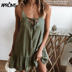 Lace Up VNeck Loose Cotton Dress Women Summer Low Back Green Mini Dresses Beach Sundresses Robe Femme