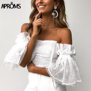 Off Shoulder Lace Mesh Crop Top Women Hollow Out White Tank Tosp Cool Flare Sleeve Tube Camis
