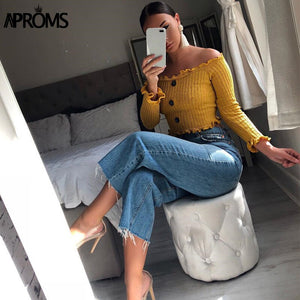 Off Shoulder Ruffle Knitted Tank Tops Women Yellow Knit Crop Top Casual Short Tees Streetwear Basic Camis