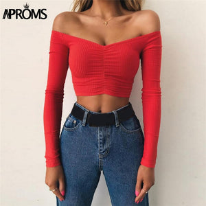 Red Off Shoulder Long Sleeve Ribbed TShirt Women Knitted Basic Stretch T Shirt 90S Crop Top Tees