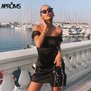 Satin Slip Short Dress Women Square Neck Short Sleeve Ruched Bodycon Dresses Streetwear Party Dress Vestidos