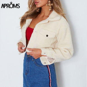 Solid Color Cropped Teddy Jacket Women Front Pockets Thick Warm Coat Autumn Winter Soft Short Jackets