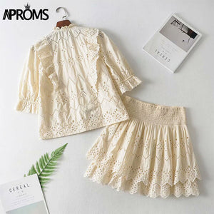 Solid Color High Waist Women Summer Dress Lace Hollow Out Mini Dress VNeck Half Sleeve Streetwear Dresses