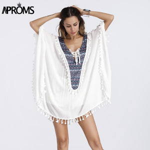 Enthnic Print Tassel Beach Plus Size Blouses Women Boho V Neck Lace Up White Tunic Top Bikini Cover Kimono Shirt Blusas