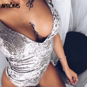 Fashion Gray Pink Bodycon Velvet Bodysuits Women Strap VNeck Jumpsuits Rompers Sweet Tops Clothing