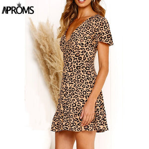 Multi Leopard Print Ruffle Dress Women Summer Deep V Short ALine Mini Dress High Street Fashion Sundresses Vestidos